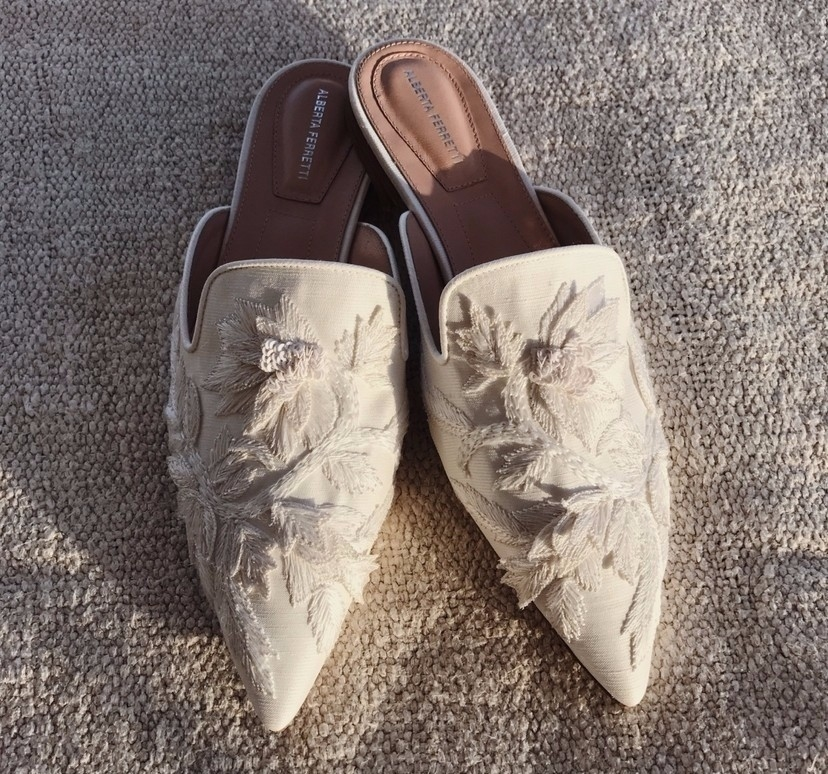 Alberta Ferretti White Mules Shoes