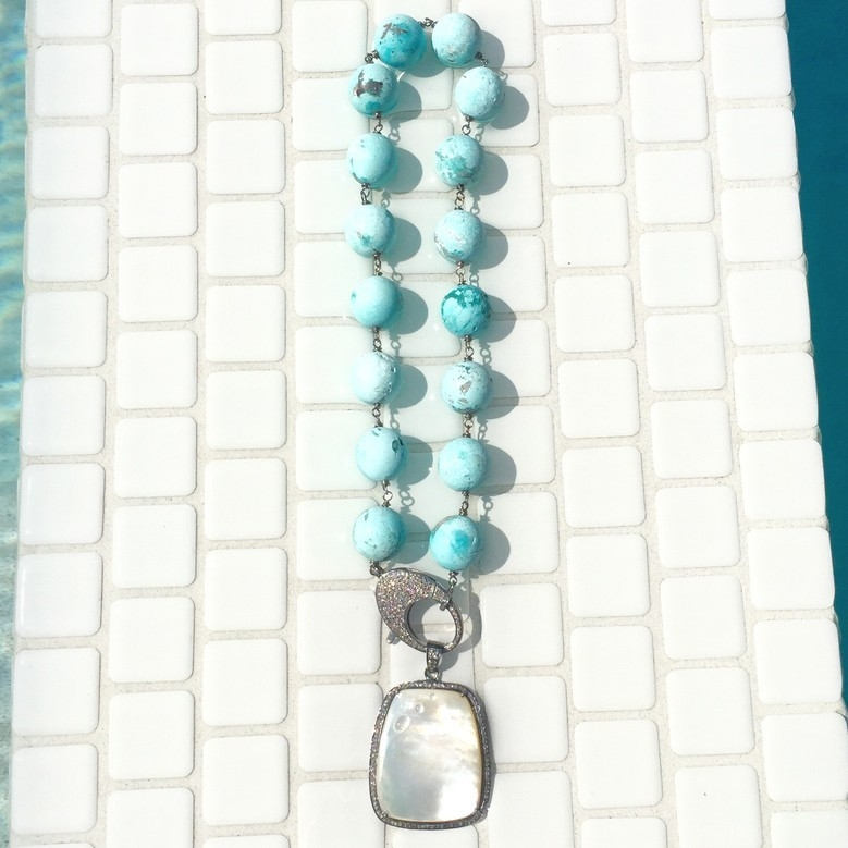 Turquoise Necklace + Pearl Pendant