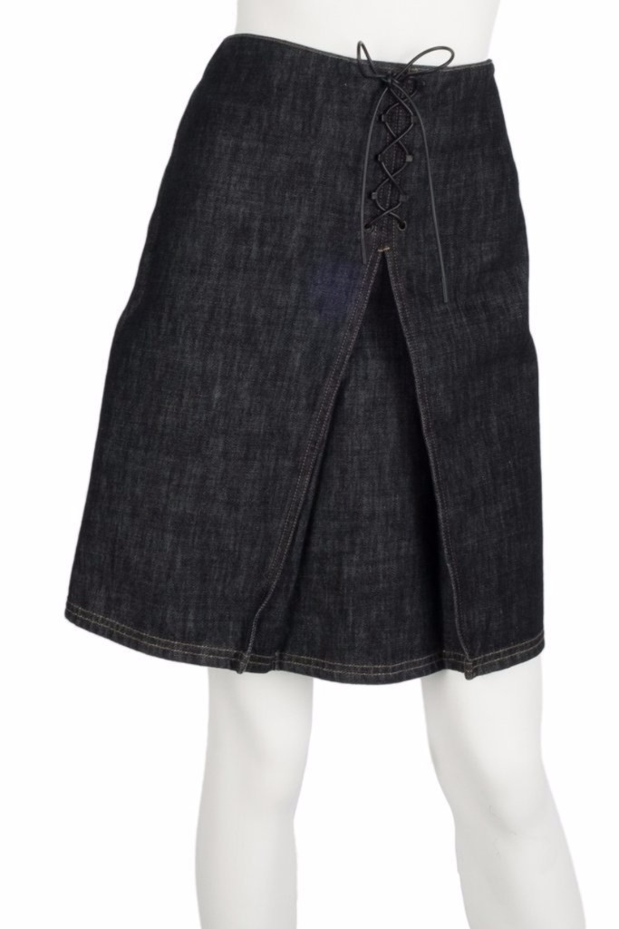 Gucci Denim Lace Up Skirts