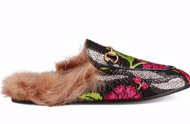 Gucci Princetown Floral Brocade Slipper Shoes