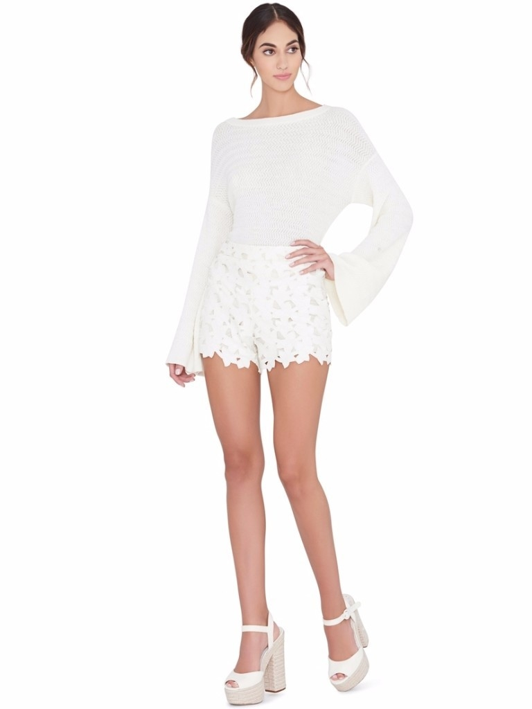Alice + Olivia Faux leather lace shorts Shorts