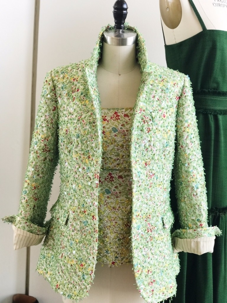 Bonnie Young FLORAL EMBROIDERED BUSTIER & BLAZER