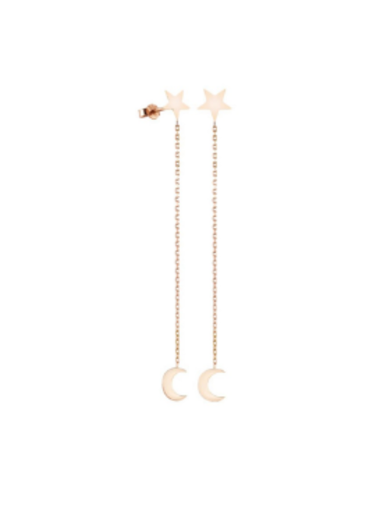 Art Youth Society Star with Moon on Chain Ear Stud Jewelry