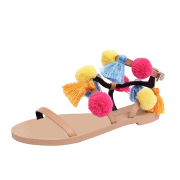 Rebecca Minkoff Esme Natural Pom Pom Sandal Shoes