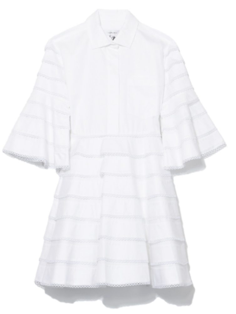 Carven Bell Sleeve Dress in Blanc Optique Stripe Dresses Sale