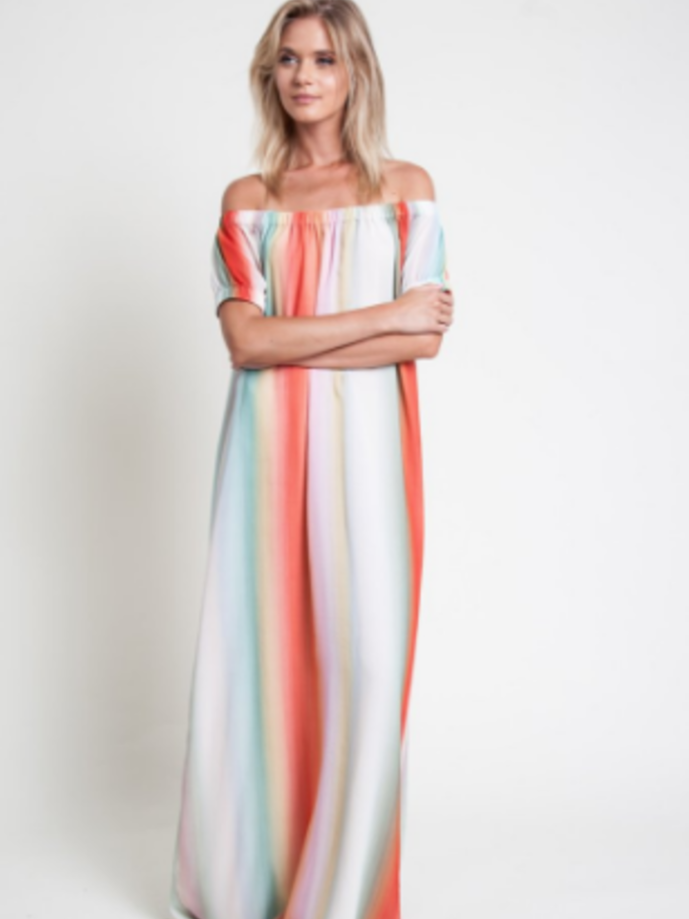dRA Sunset Stripe Off the Shoulder Dresses