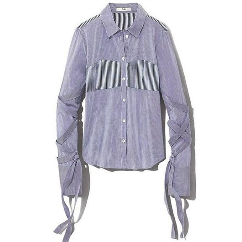 Tibi Mens Stripe Shirting Shirt in Blue Stripe Sale Tops