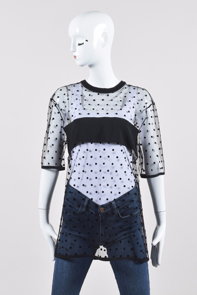 Emanuel Ungaro Mesh Polka Dot Top Tops
