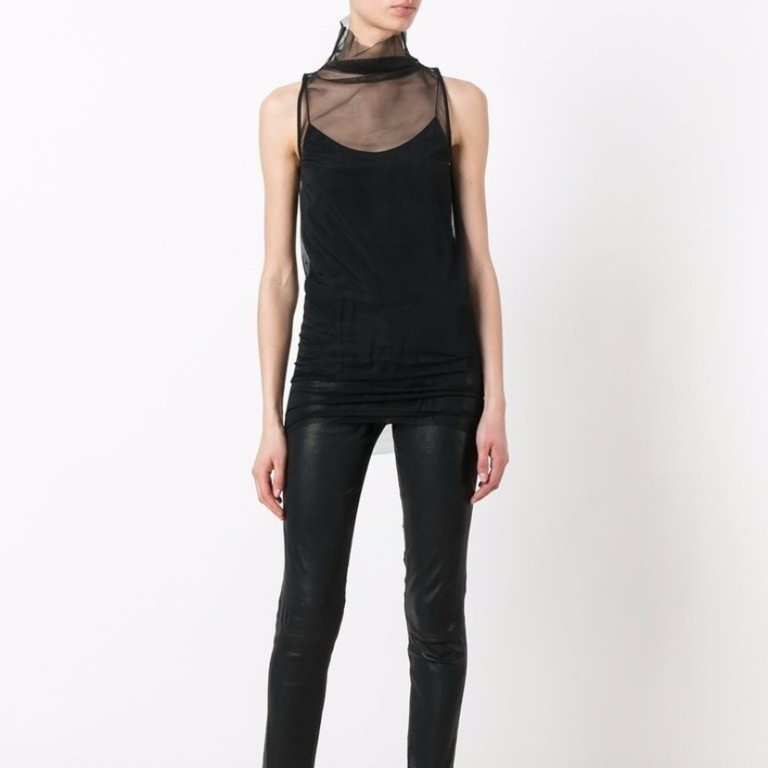 Rick Owens Tulle High Neck Sleeveless Top Sale Tops