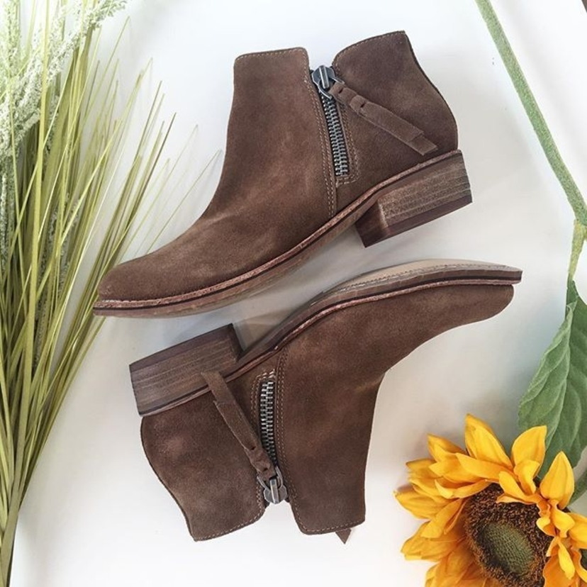 These boots are made for walking  @shopdolcevita Sutton suede booties $140 sizes 6-10 || #suede #booties #springstyle #springtrends #zipperdetail #dolcevita #trend #newarrivals #trending #springbootie #springshoe #shopboem #shop