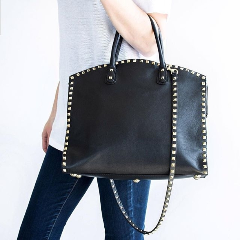"""Valentino Garavani Black & Gold Leather Crossbody """"Rockstud"""" Dome Satchel.  Email valerie@luxurygaragesale.com for pricing and more information.  #valentino #valentinobag #valentinorockstud #rockstud #handbag #hotd #luxury #luxuryconsignment"""