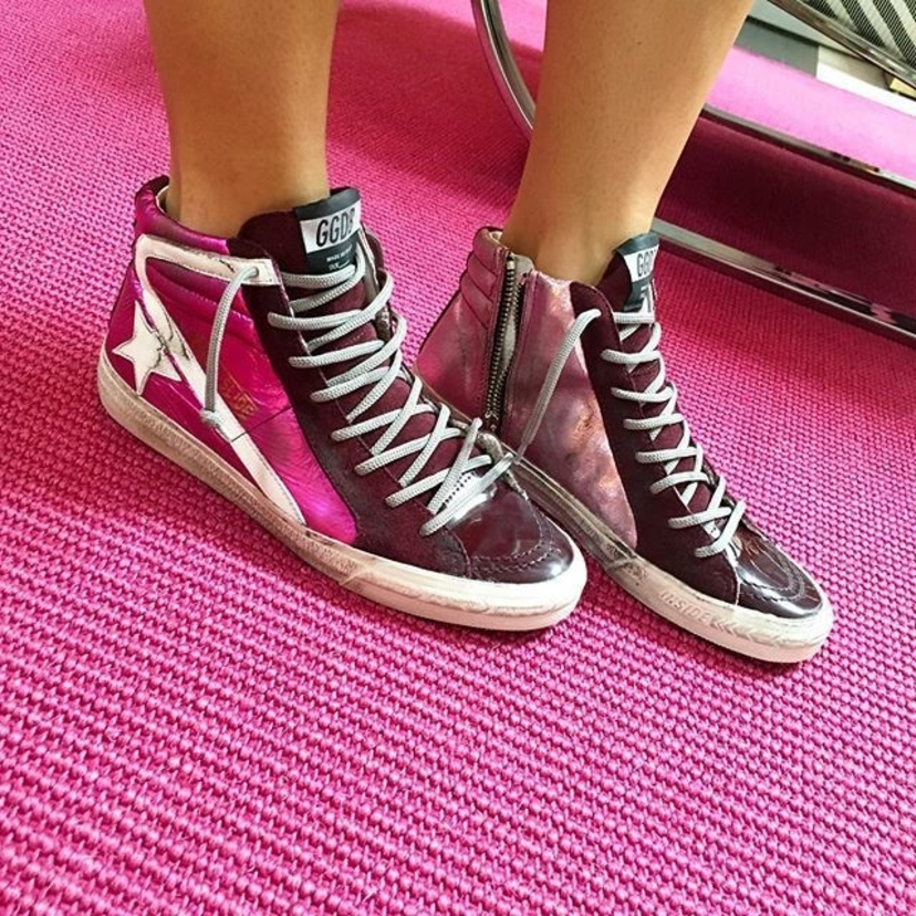 blink and these PINK sneaks will #goldengoose