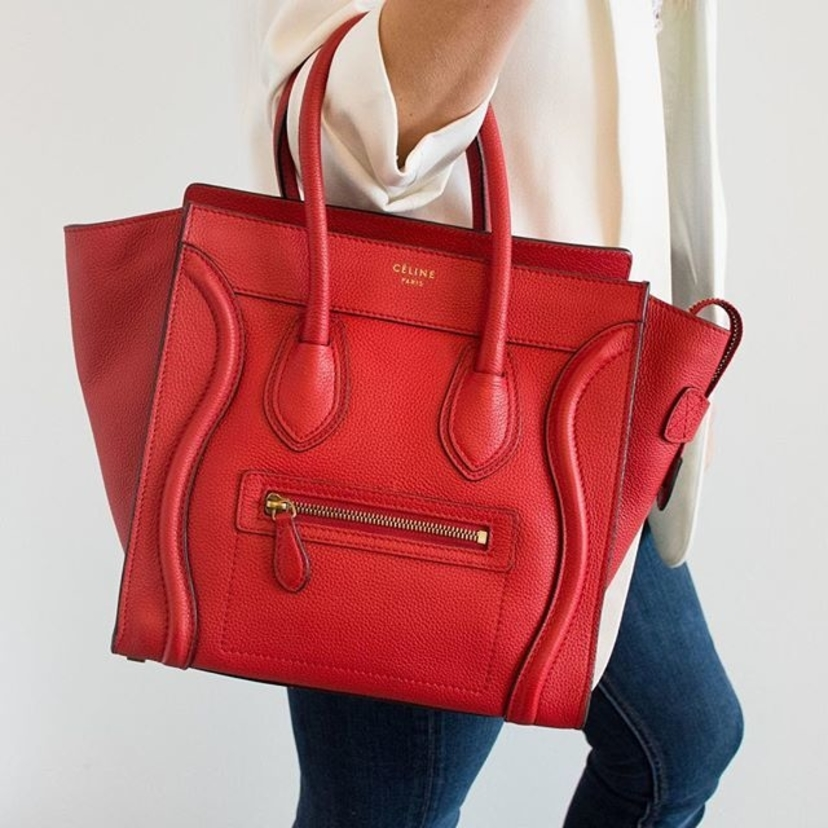 "Celine Red Grained Leather ""Micro Luggage Tote"" Bag.  Email jessica.santos@luxurygaragesale.com for pricing and information."