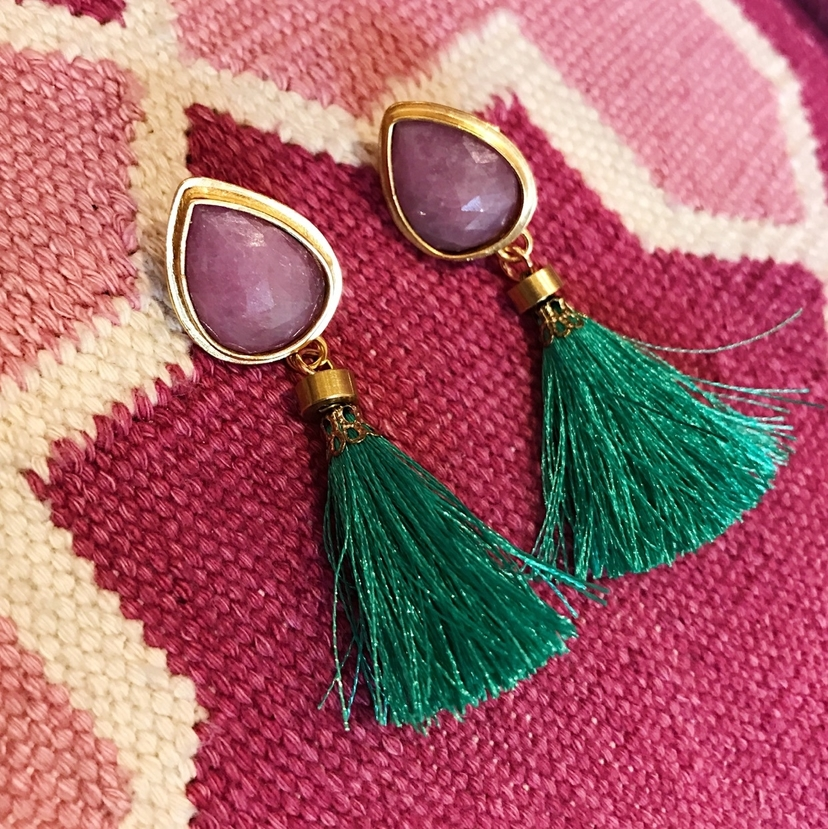 Hyla DeWitt Tiny Teal Tassels  Jewelry
