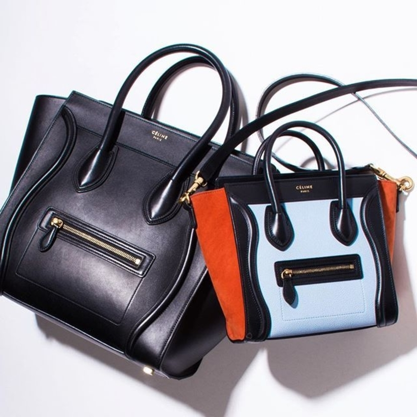 Celine Tricolor 'Nano Luggage' Shoulder Bag and Celine Black Leather 'Mini Luggage' Tote Bag. Email kelly@luxurygaragesale.com for pricing and information.     luggage #celinemini
