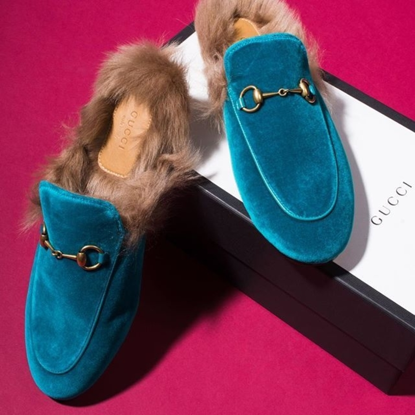 """Gucci """"Cyan"""" Blue Velvet & Fur """"Princetown"""" Slip On Loafers, Size 38. New in Box! Contact @lgs_lauren for pricing and information."""