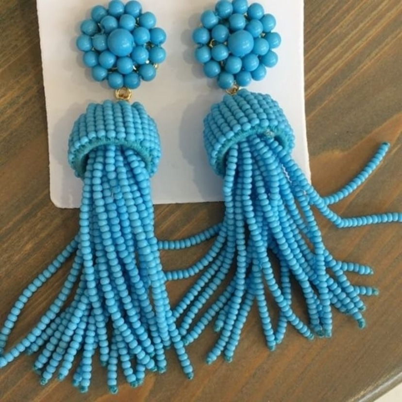 Lisi Lerch Blue Tassel Earrings Jewelry