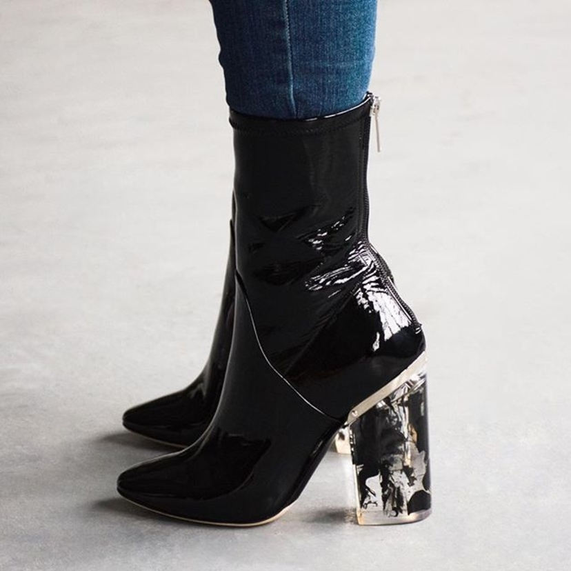 """Christian Dior Black Stretch Patent Lucite Heel """"Crystal"""" Boots. Sizes 36, 39, & 40 Available. New in Box! Contact @lgssarah for pricing and more information.           tyle  #shoes"""