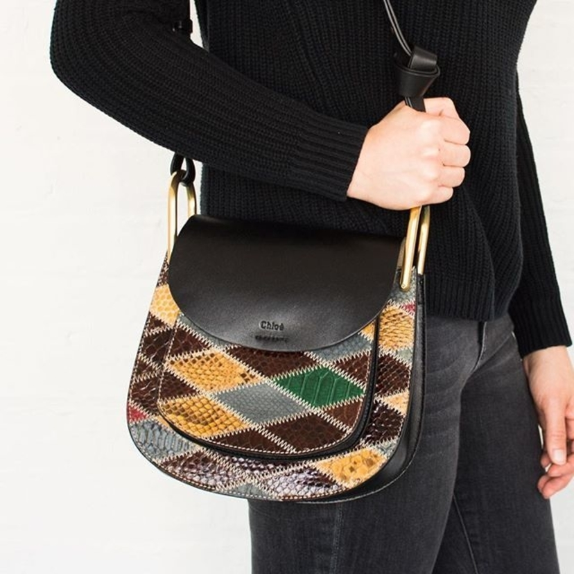Chloe Patchwork Python Leather 'Hudson' Shoulder Bag. Contact @lgs_lauren for pricing and information.