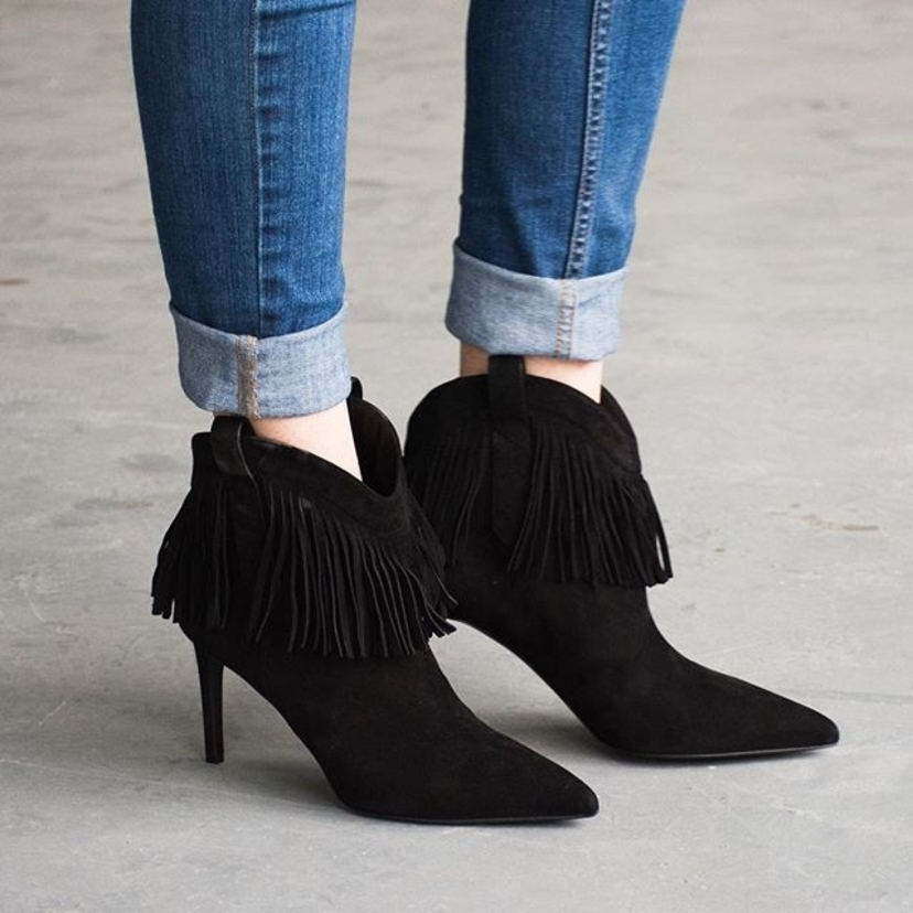 """Saint Laurent Black Suede Fringed """"Paris"""" 80 MM Boots. Sizes 36, 37, 40, & 41 Available. New in Box! Email rachel.grayem@luxurygaragesale.com for pricing and more information."""