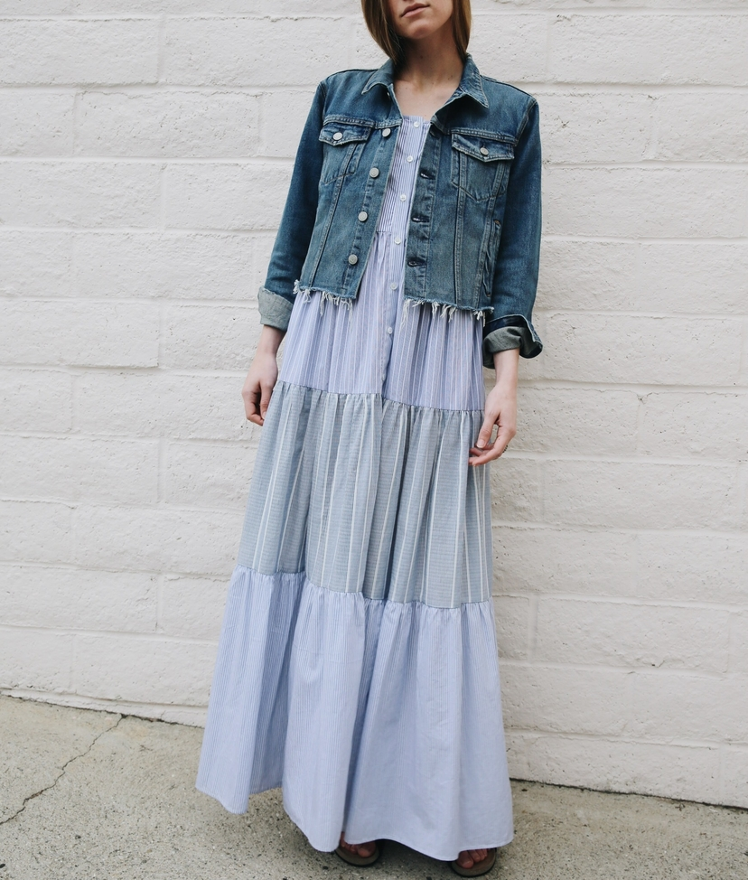 GRLFRND Sea the lady  & the sailor Cara Crop Denim and Sea NY Tiered Striped Dress Dresses Lifestyle Outerwear Sale