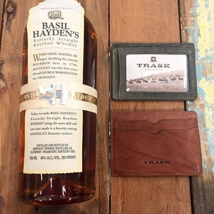 Stop by the #CornerofKingandSociety today and enjoy some small batch bourbon during our @trask trunk show!