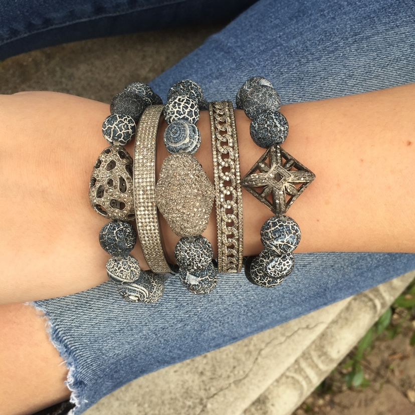 The Woods Fine Jewelry Diamond and Agate Stack Jewelry
