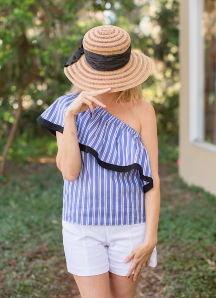 Milly Cotton Silk Stripe One Shoulder Top - 50% OFF Sale Tops