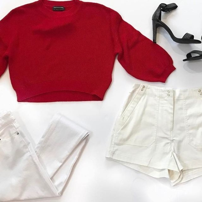 Pair our red cropped sweater with white pants or shorts