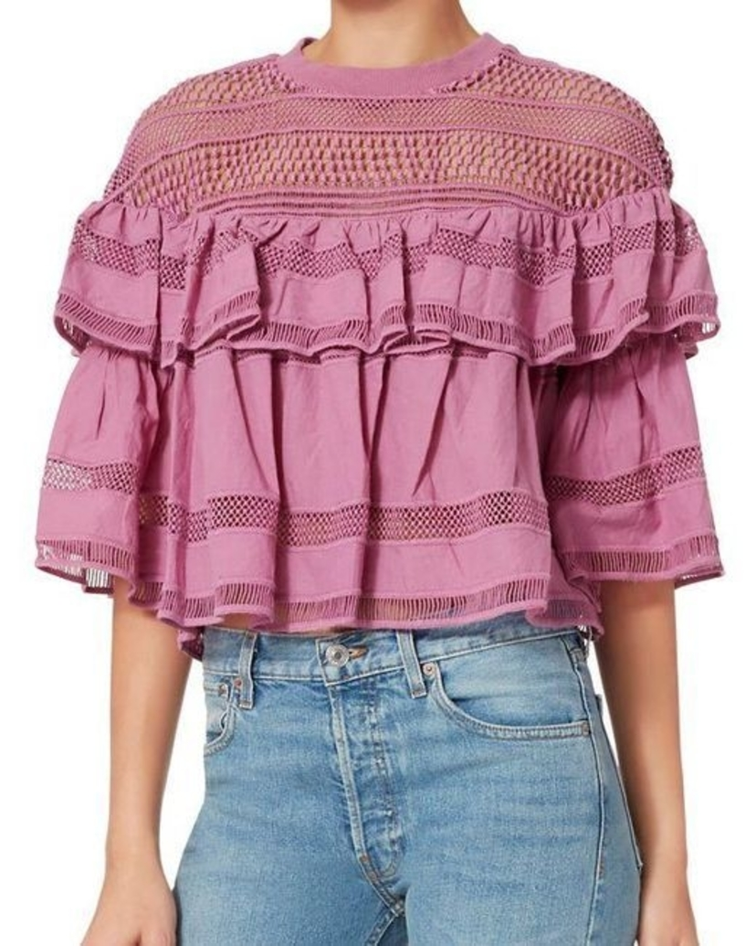 Sea Orchid Baja Tiered Ruffle Lace Top Tops