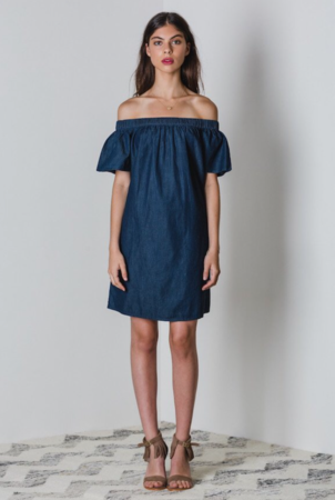 Lilya Chambray Off the Shoulder Dresses