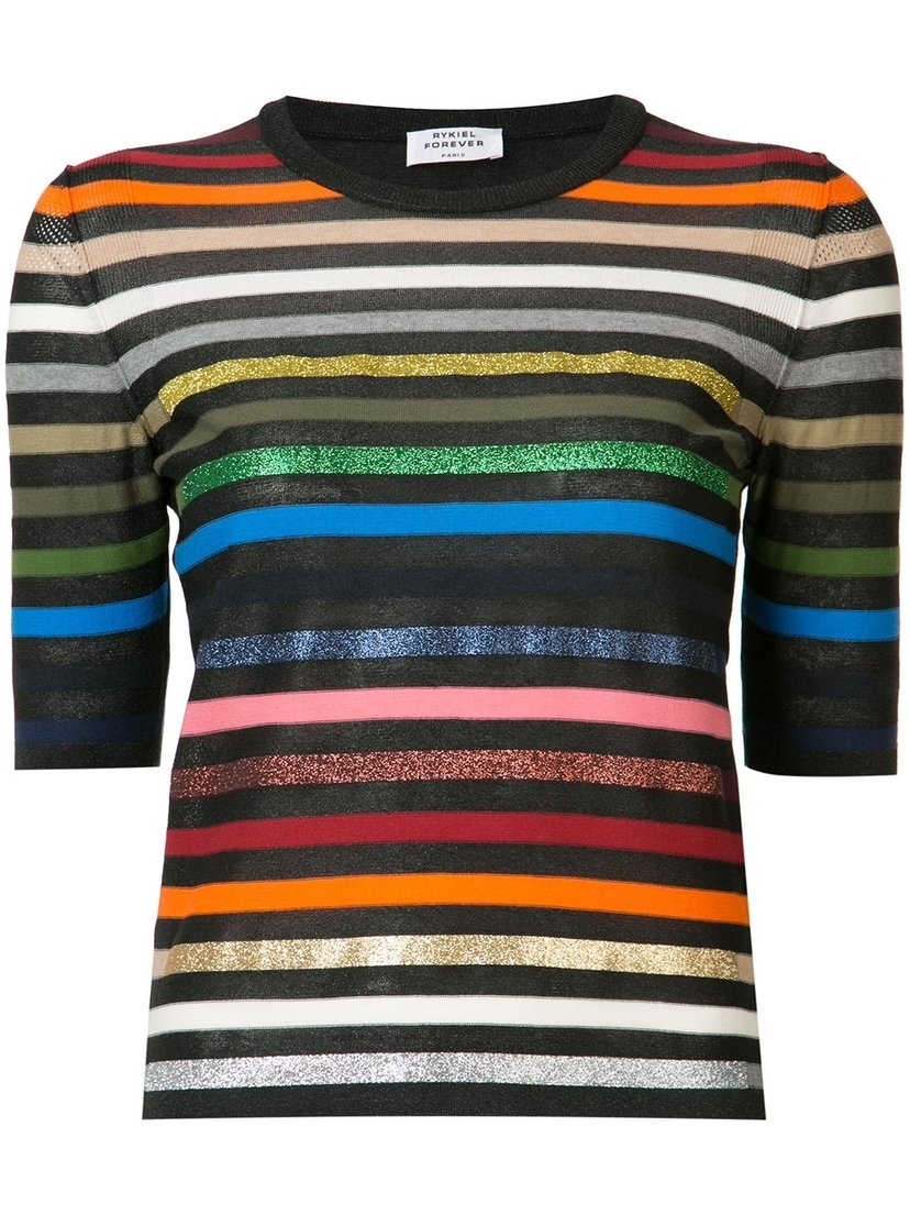 Short Sleeve Striped Rainbow Sweater