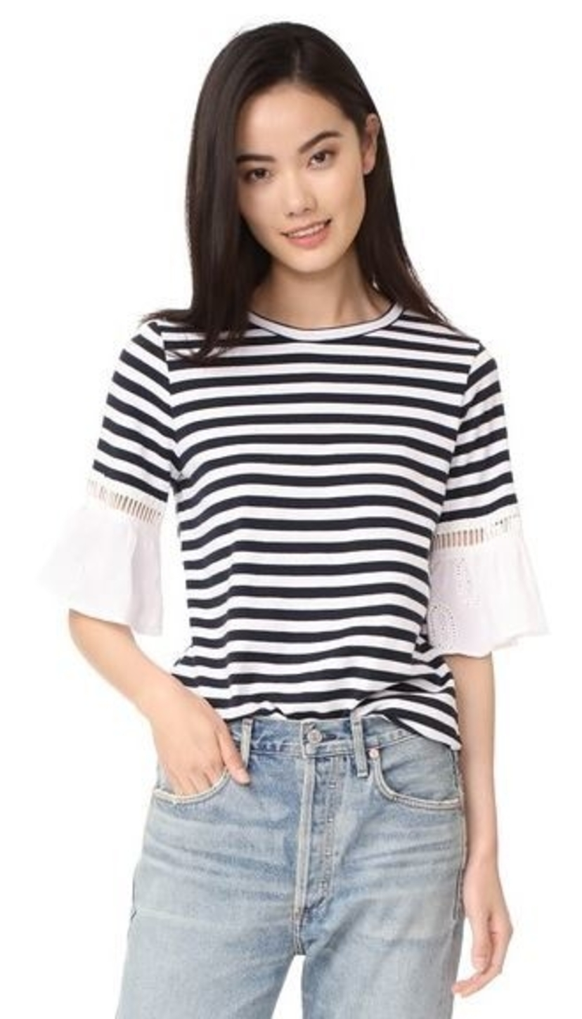 Striped Top with Ruffled Eyelet Sleeves