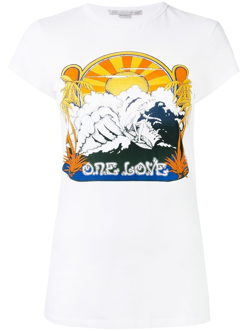 One Love Surf Print T-Shirt