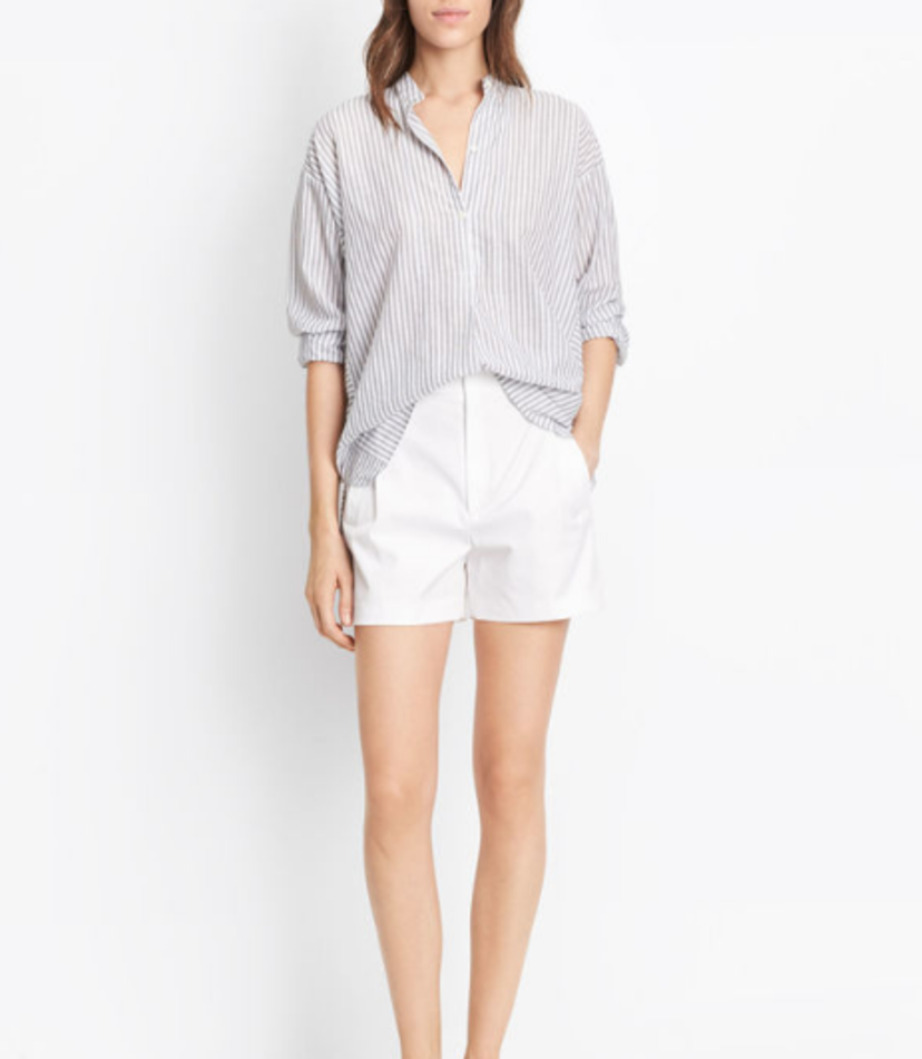 White High-Waisted Pleated Shorts