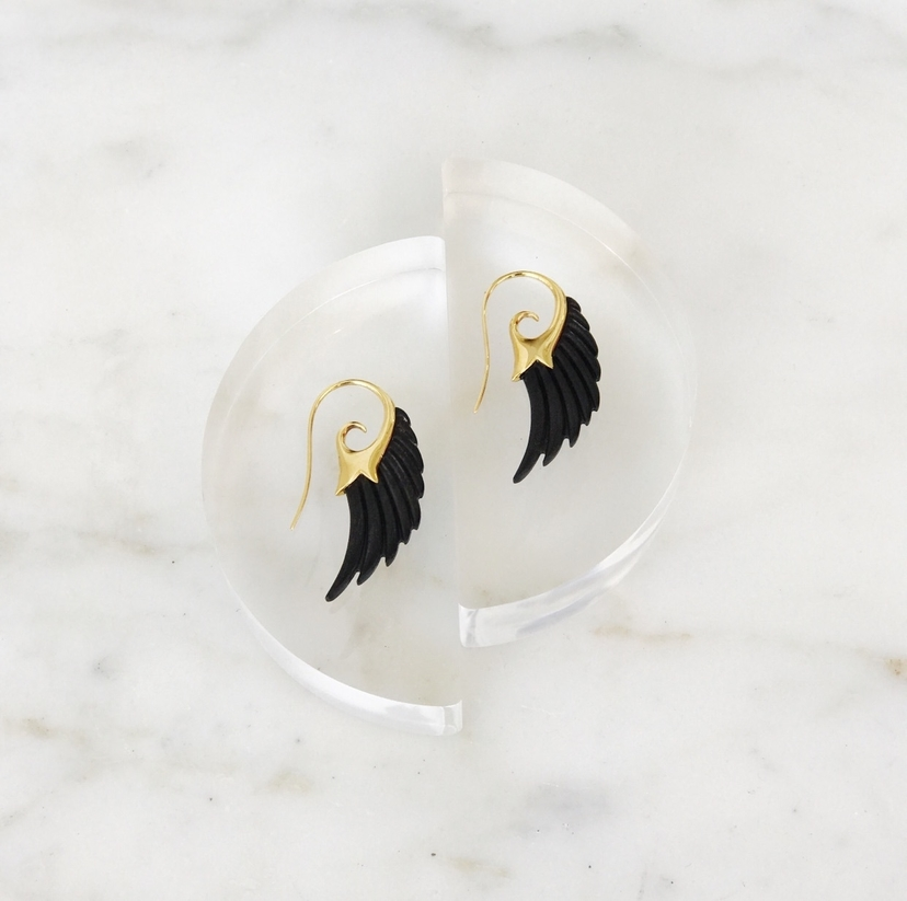 FLY ME TO THE MOON 18K YELLOW GOLD EARRINGS