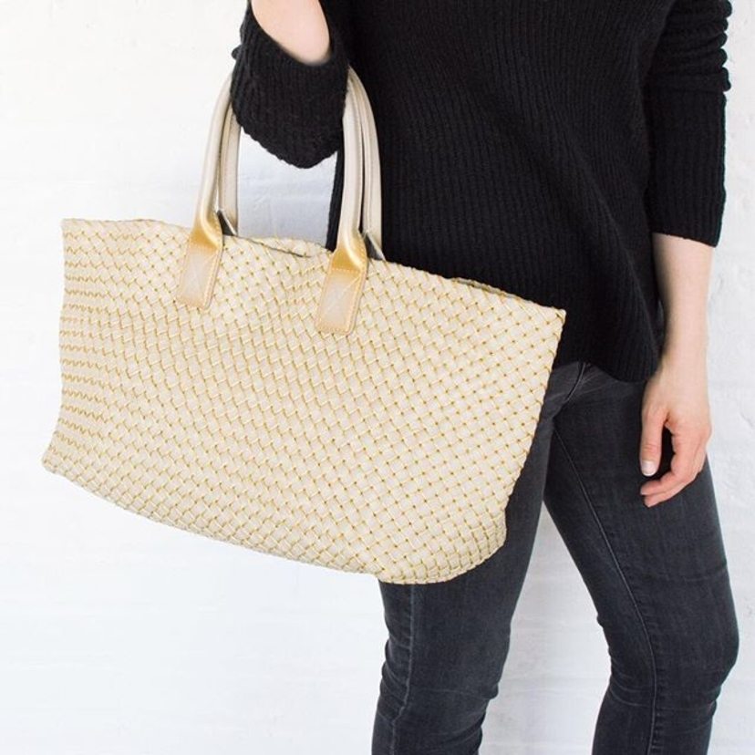"Bottega Veneta Taupe & Gold Intrecciato Woven Leather ""Cabat"" Tote Bag.  Contact @lgsseattlesarah for pricing and information."