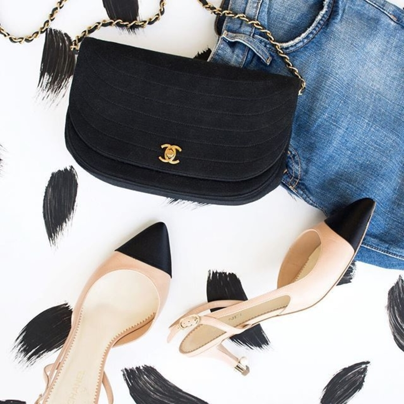 Vintage Chanel Black & Gold Front Flap Half Moon Shoulder Bag and Chanel Beige Leather & Black Satin Cap Toe Slingback Pumps with Pearl Accent, Size 40.  Email rachel.grayem@luxurygaragesale.com for pricing and more information.   bag   #chanelflap