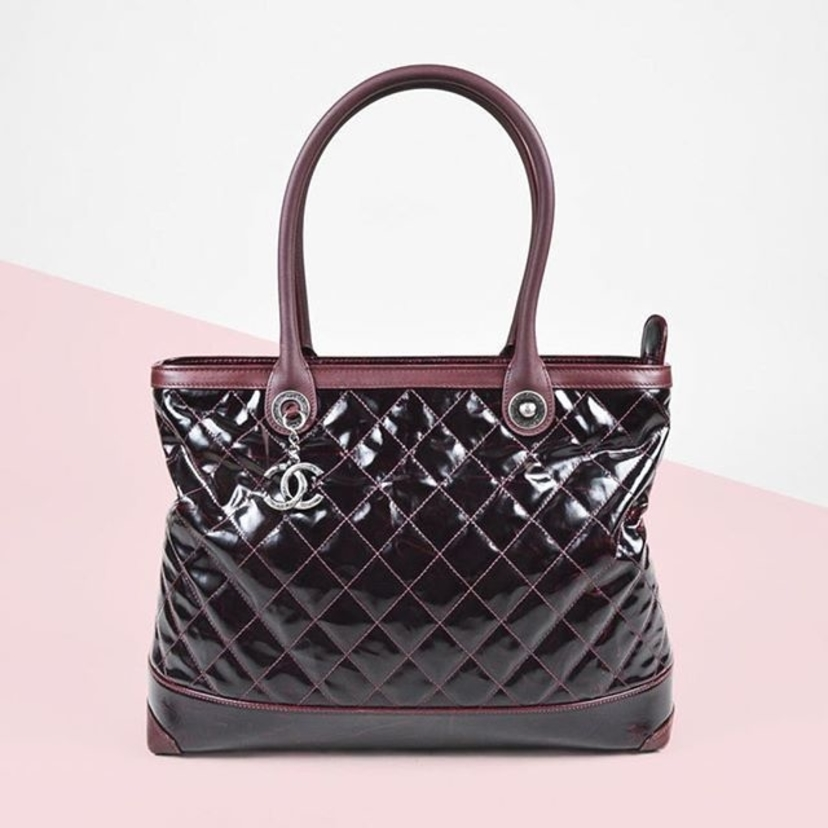 Chanel Burgundy Leather Trim Quilted Tote Bag.  Email maggie@lgsdallas.com for pricing and information.