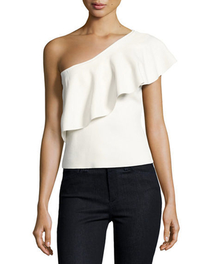 Milly Ruffle One Shoulder Tops