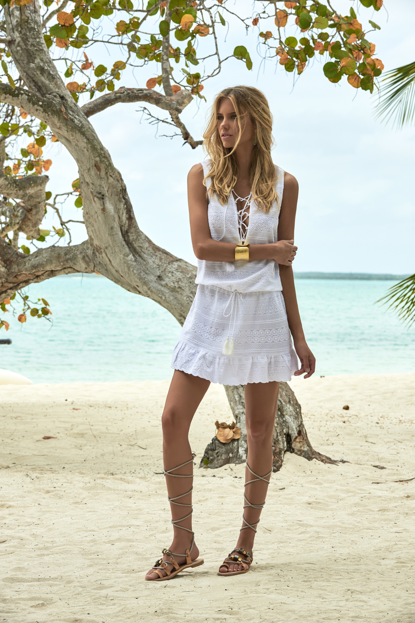 Melissa Odabash Layla V-Neck Short Dress in White Dresses Sale