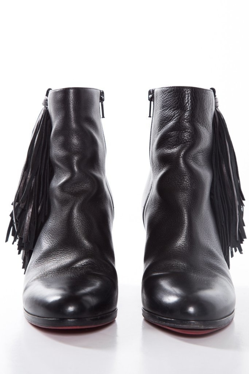 Christian Louboutin Fringe Booties Shoes