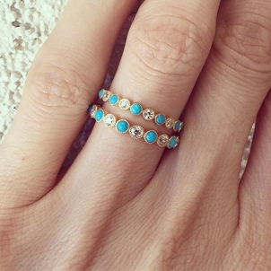 Our small and mini Gabby bands are perfect when set with turquoise and diamonds!