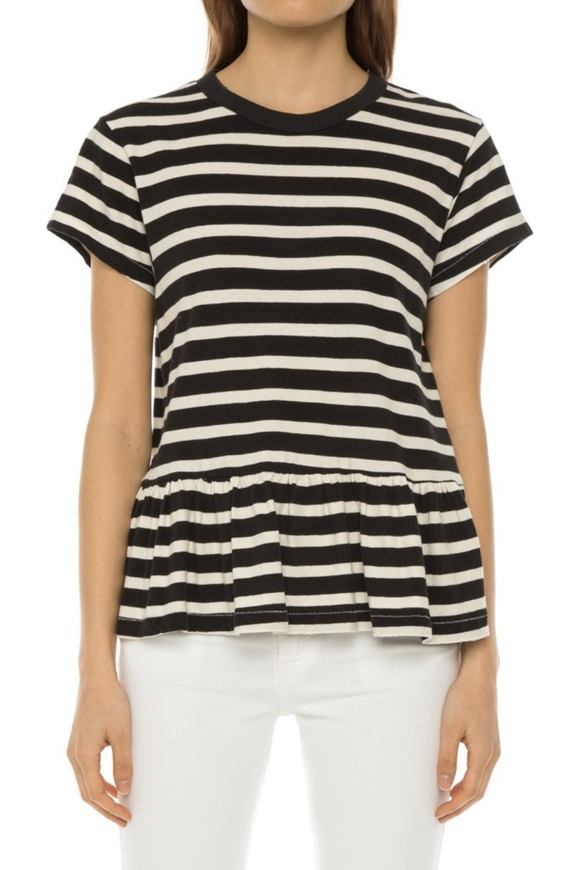 The Great. Striped Ruffle Tee Tops