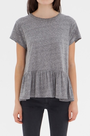 The Great Grey Ruffle Tee Tops
