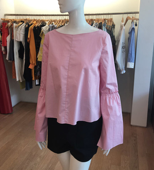 Satin Poplin Bell Sleeve Top