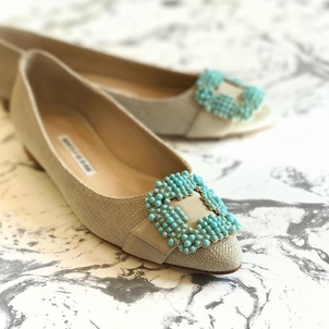 Manolo Blahnik Beaded Flats Shoes