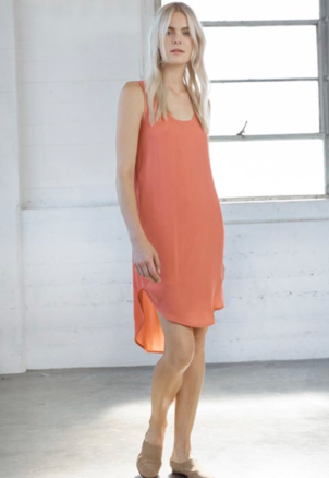 Heather Melon Silk Tank Dress Dresses