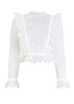 Divinity Wheel Frill Top in Ivory