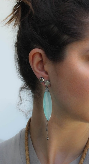 Nan Fusco Chalcedony Marquis Earrings